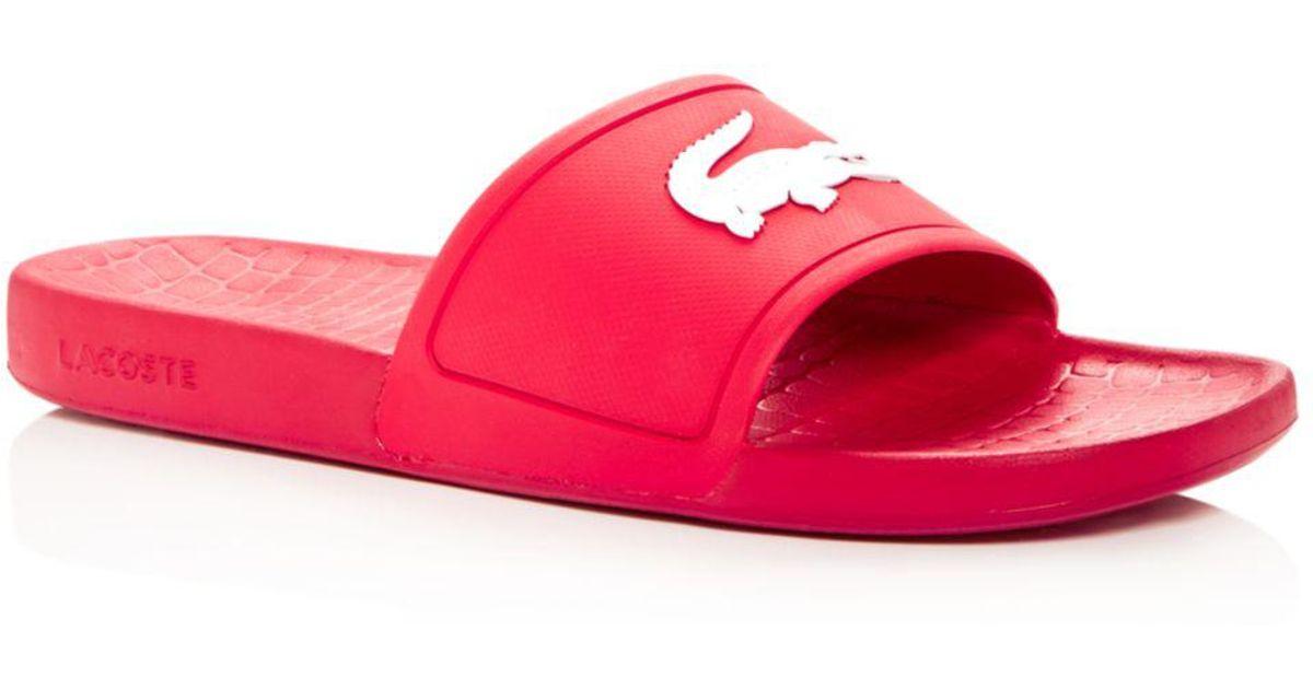 Lacoste Men's Logo Slide Sandals in Red
