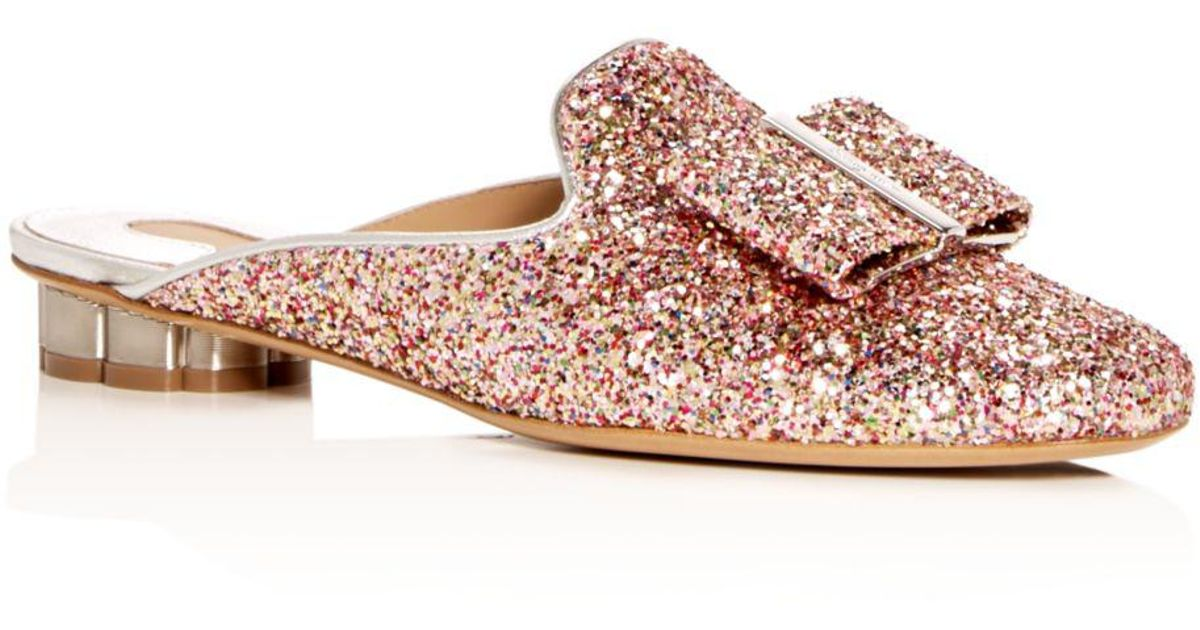 1d06b07d513b20 Lyst - Ferragamo Women s Sciacca Glitter Floral Heel Mules