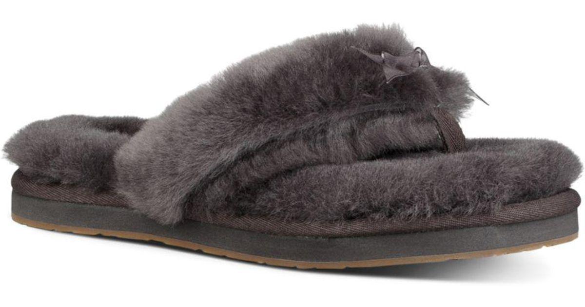 df337f22391c0d Lyst - UGG Women s Fluff Sheepskin Flip-flops in Gray