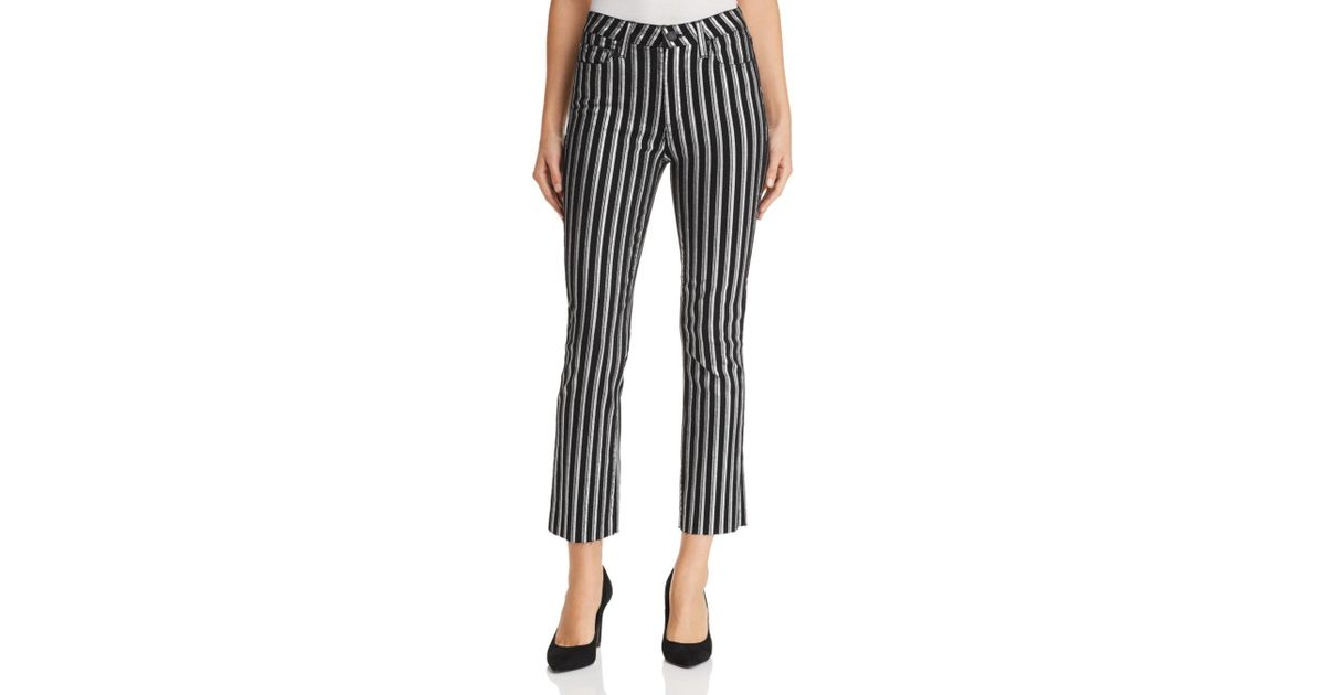 72d2b7bf1df PAIGE Colette Crop Flare Jeans in Metallic - Lyst