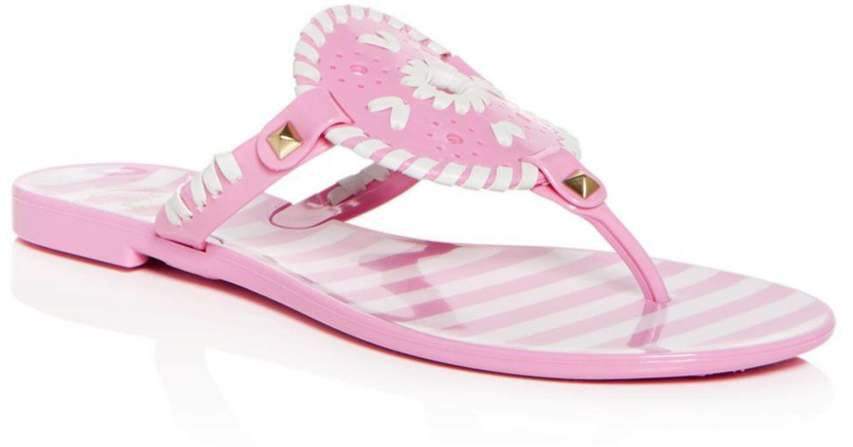 d6a5b3bb04d5 Lyst - Jack Rogers Women s Georgica Striped Jelly Thong Sandals in Pink