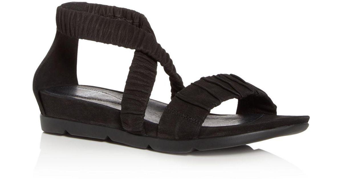 Eileen Fisher Women's Dylan Tumbled Nubuck Leather Demi Wedge Sandals tE2Ca8t9Fd