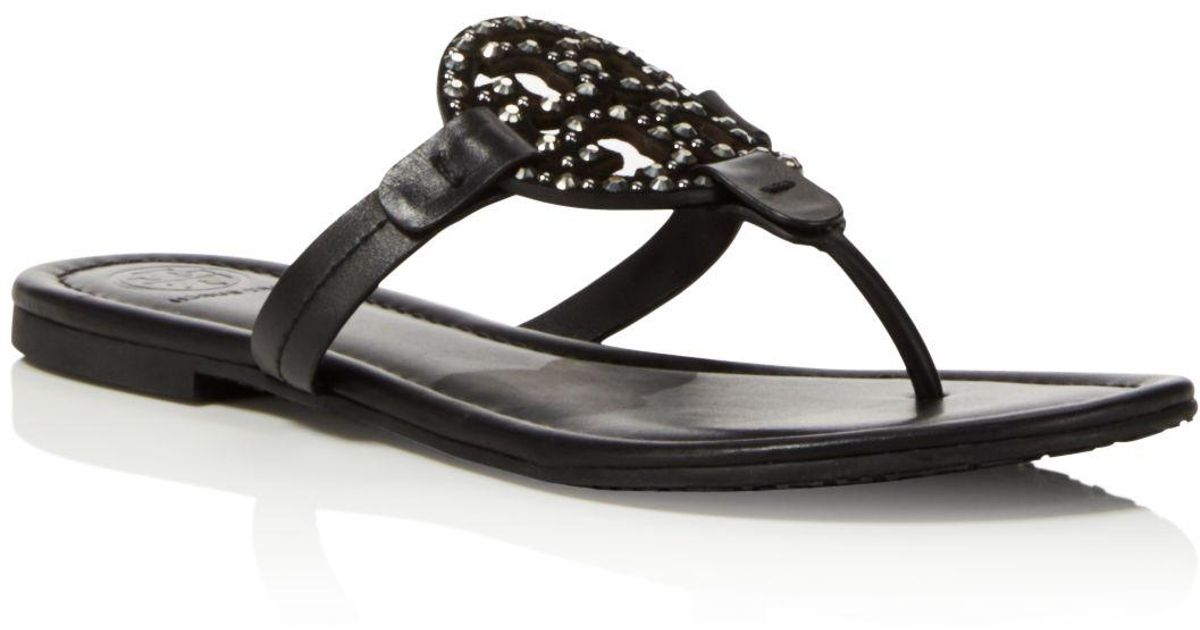 1c9629bd26fad Lyst - Tory Burch Miller Embellished Thong Sandals in Black