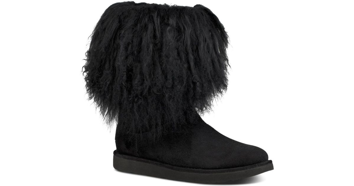 6b65efcbfa8 Ugg Black Women's Lida Suede & Curly Sheepskin Booties