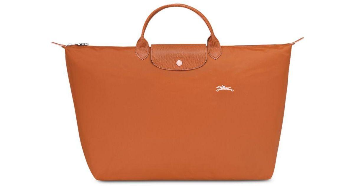 Longchamp Brown Le Pliage Club Large Nylon Travel Bag