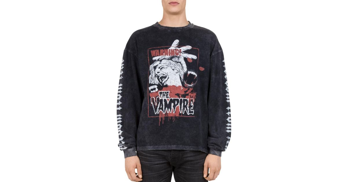 91c851ca673 The Kooples Vampire Graphic Long Sleeve T-shirt in Black for Men - Lyst