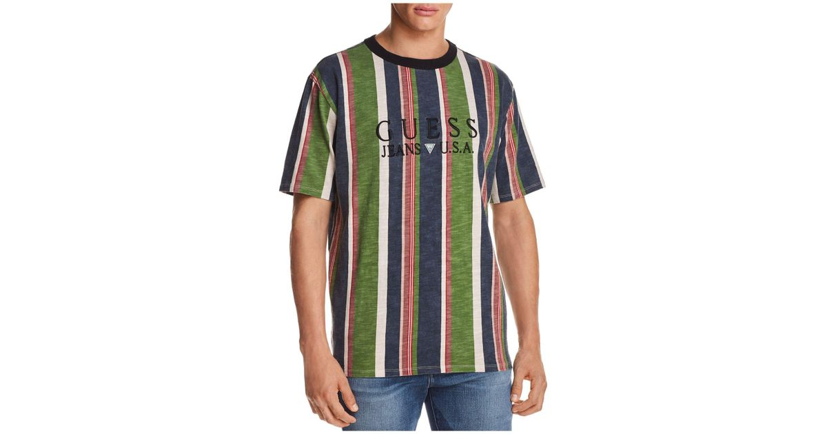 Guess 81 Sayer Stripe Short Sleeve Tee In Blue For Men