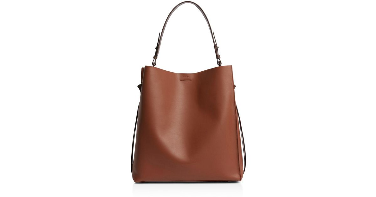 7ef6ee62714e AllSaints Voltaire Large Leather Tote in Brown - Lyst