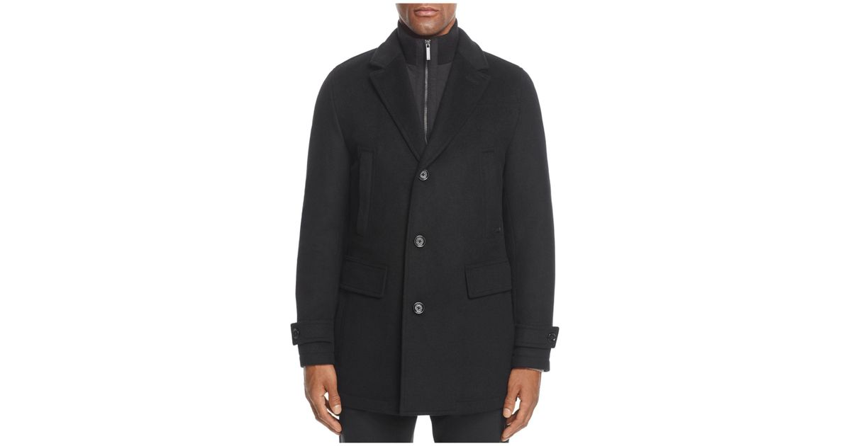 0f1673acf2 HUGO Conway Wool Cashmere Topcoat in Black for Men - Lyst