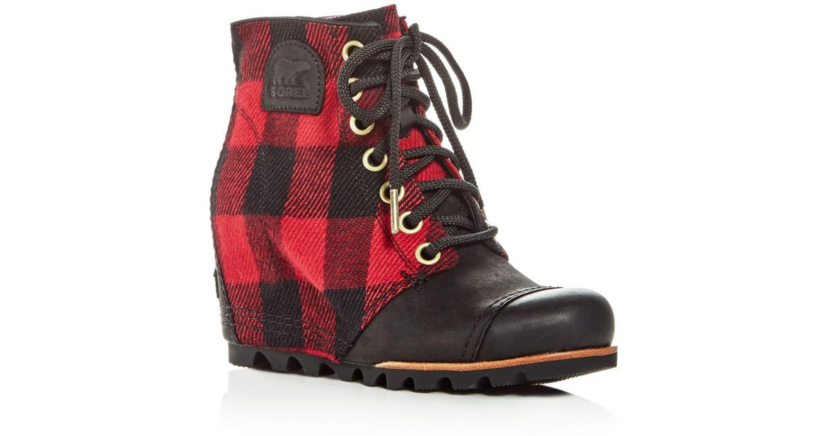Sorel Women S Pdx Leather Amp Plaid Lace Up Wedge Booties In