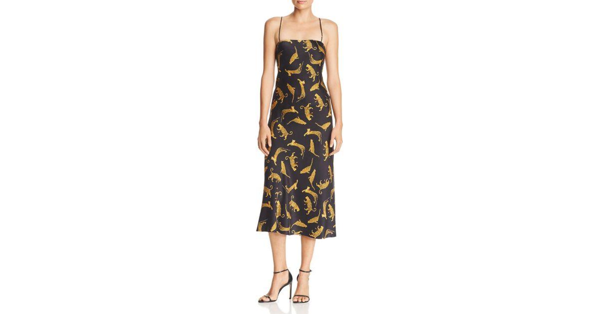 12387863b1ac Bec & Bridge Conga Beat Printed Silk Midi Dress in Black - Lyst