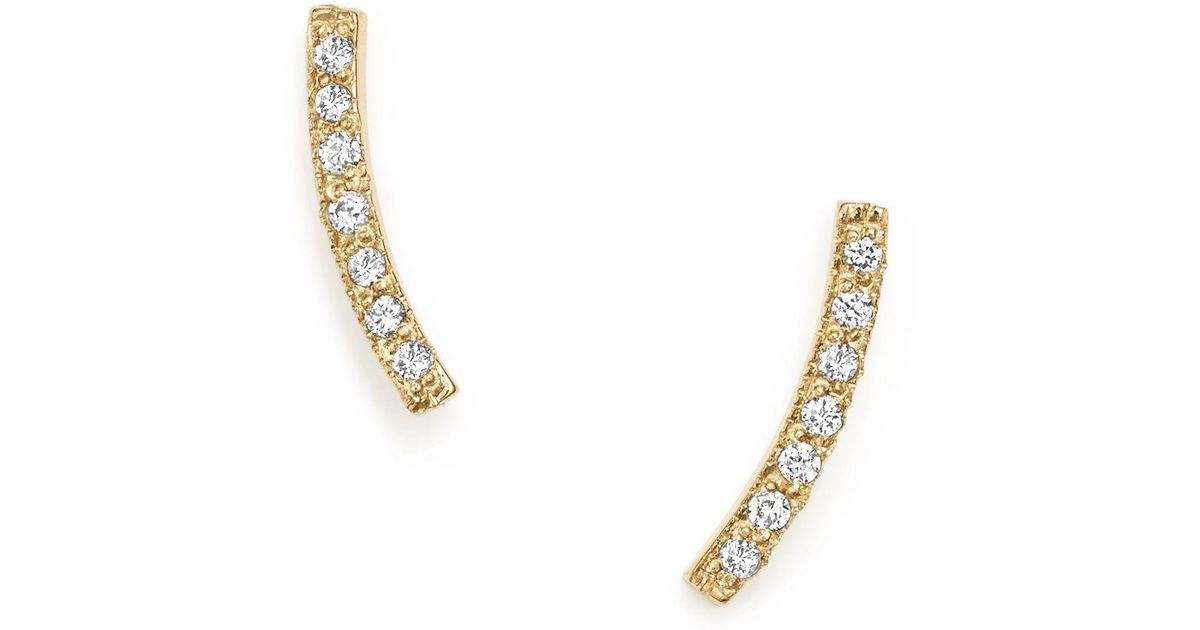 Lyst - Zoe Chicco 14k Yellow Gold Small Curved Bar Stud Earrings ...
