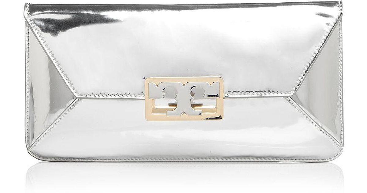 a31023b0343 Lyst - Tory Burch Gigi Metallic Patent Leather Clutch in Metallic