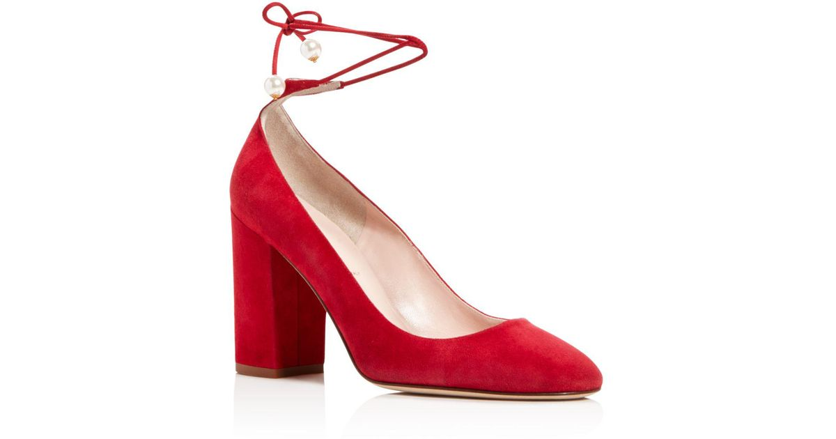 3e2e16e5c07 Lyst - Kate Spade Gena Suede Ankle Wrap Block Heel Pumps in Red