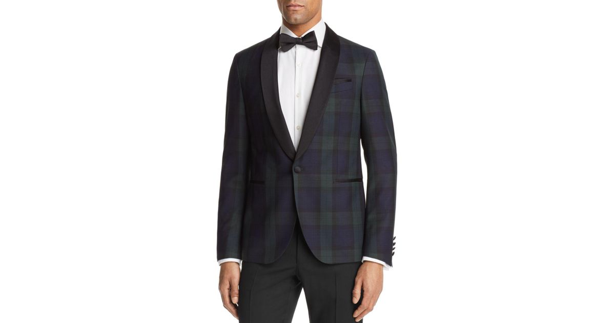 249fb0f803dad Lyst - BOSS Nemir Plaid Blackwatch Regular Fit Tuxedo Jacket in Black for  Men