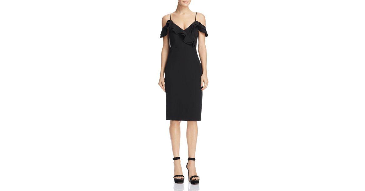 Bardot Ruffled Cold-shoulder Dress In Black