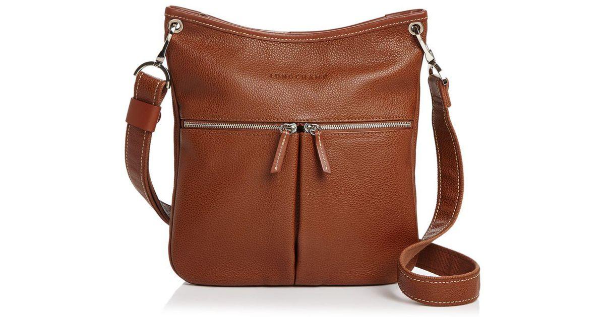Longchamp Brown Le Foulonne Flat Zip Leather Crossbody