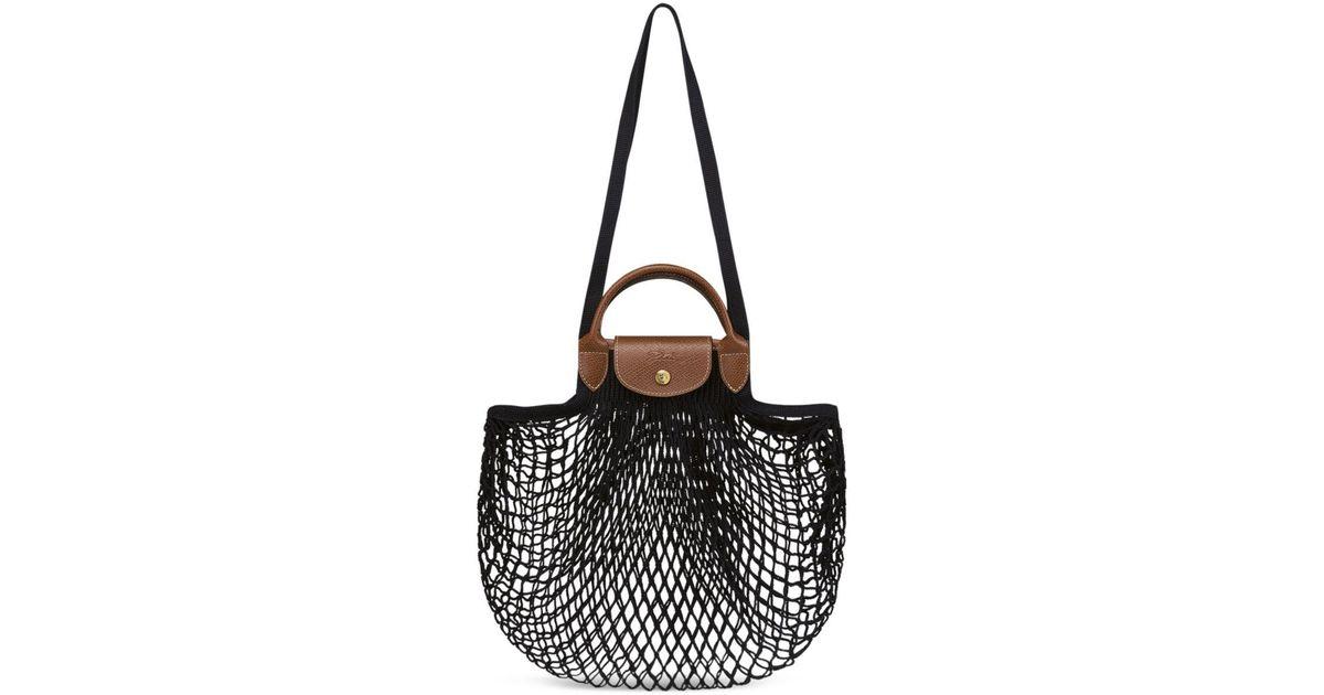 Longchamp Black Le Pliage Filet Knit Bag