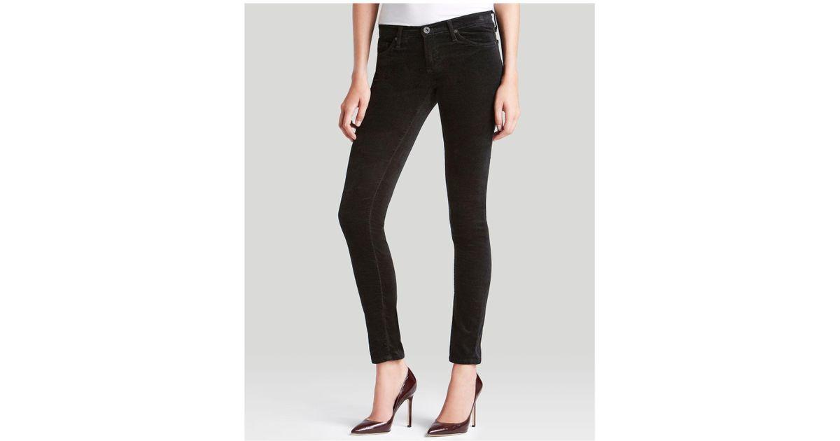 2dd8d4e5cafb3 AG Jeans Jeans - Super Skinny Velvet Legging In Super Black in Black - Lyst