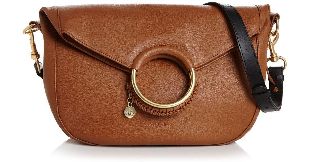 fbae0536 See By Chloé Brown See By Chloe Monroe Large Ring Handle Leather Shoulder  Bag