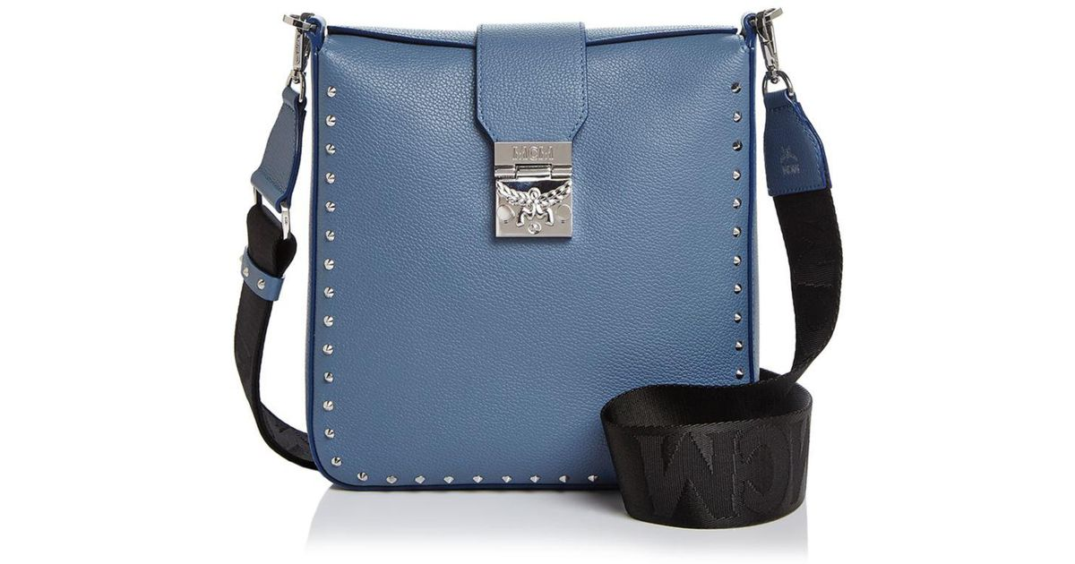 Lyst - MCM Kasion Park Avenue Studded Leather Crossbody in Blue 9f949ad2111b0