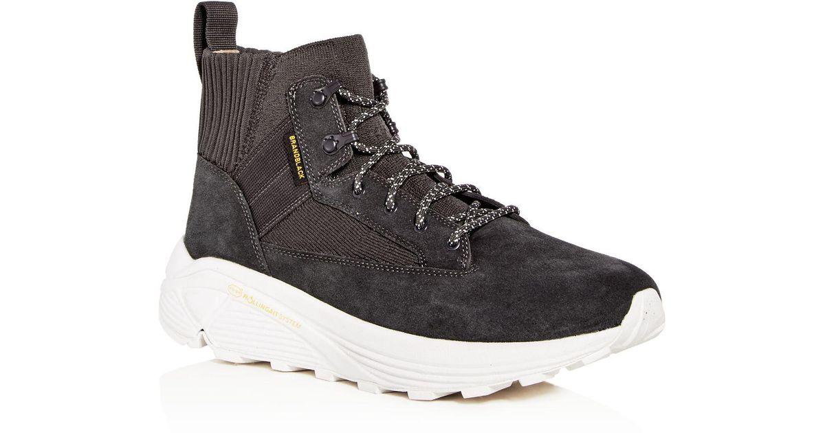 BRANDBLACK Men's Mil Spec Hiker Suede & Knit High Top Sneakers eDiGb