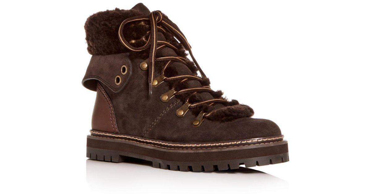 defb5ccdf1e See By Chloé Natural Women's Shearling Hiking Boots