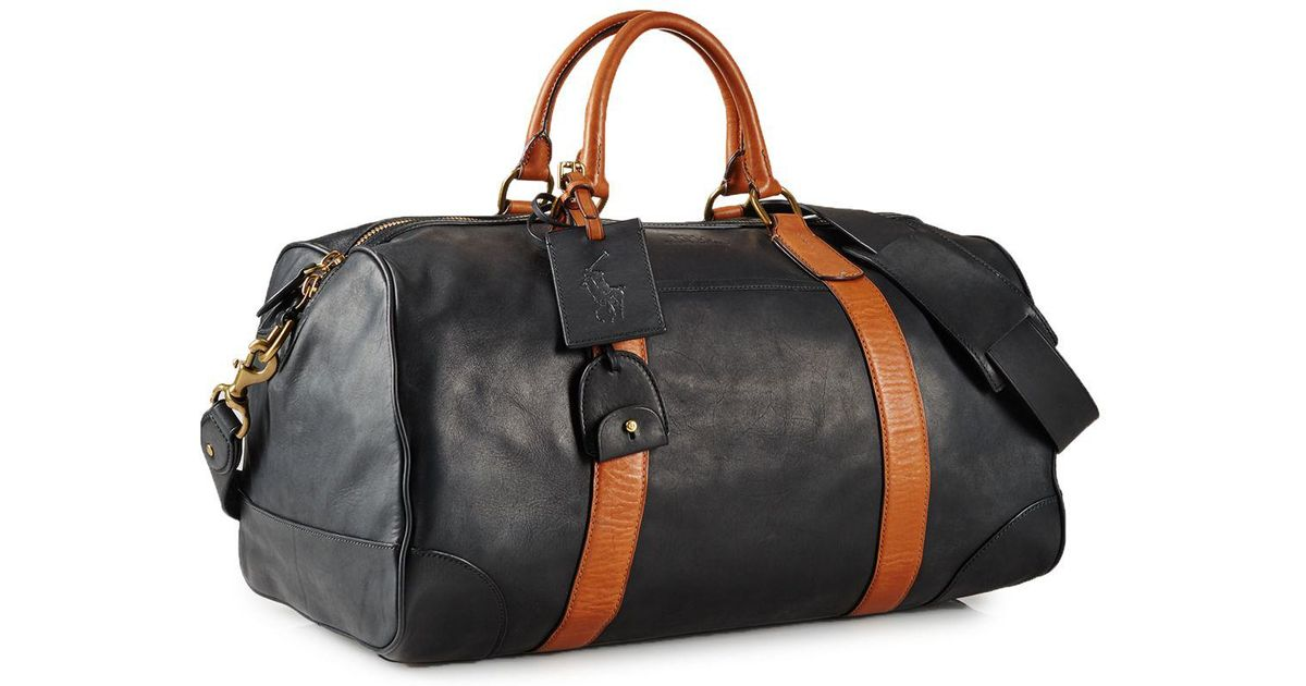 056b68dd122fb2 australia lyst ralph lauren polo two toned leather duffel bag in black for  men 0105e 35379