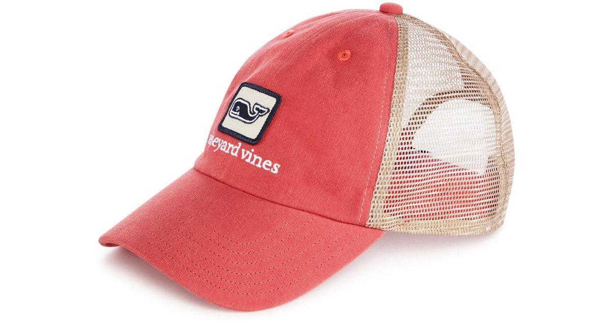 3f690193de0 Vineyard Vines Red Logo Low Profile Trucker Hat for men