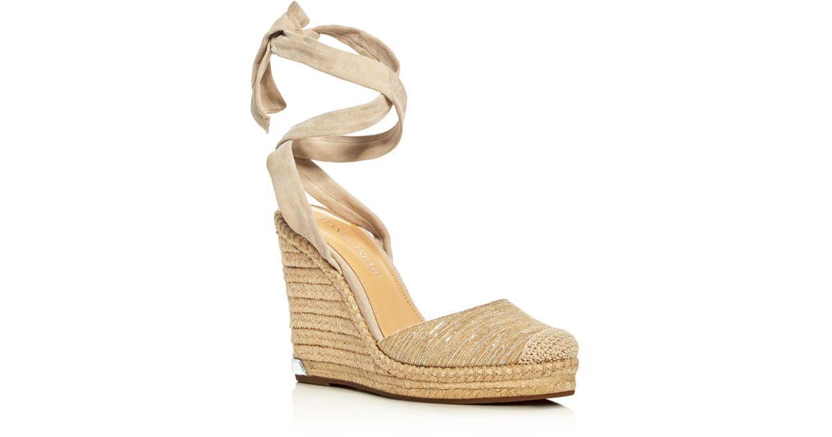 8be8e2c09fb Ivanka Trump Natural Winikka Ankle Tie Espadrille Wedge Sandals