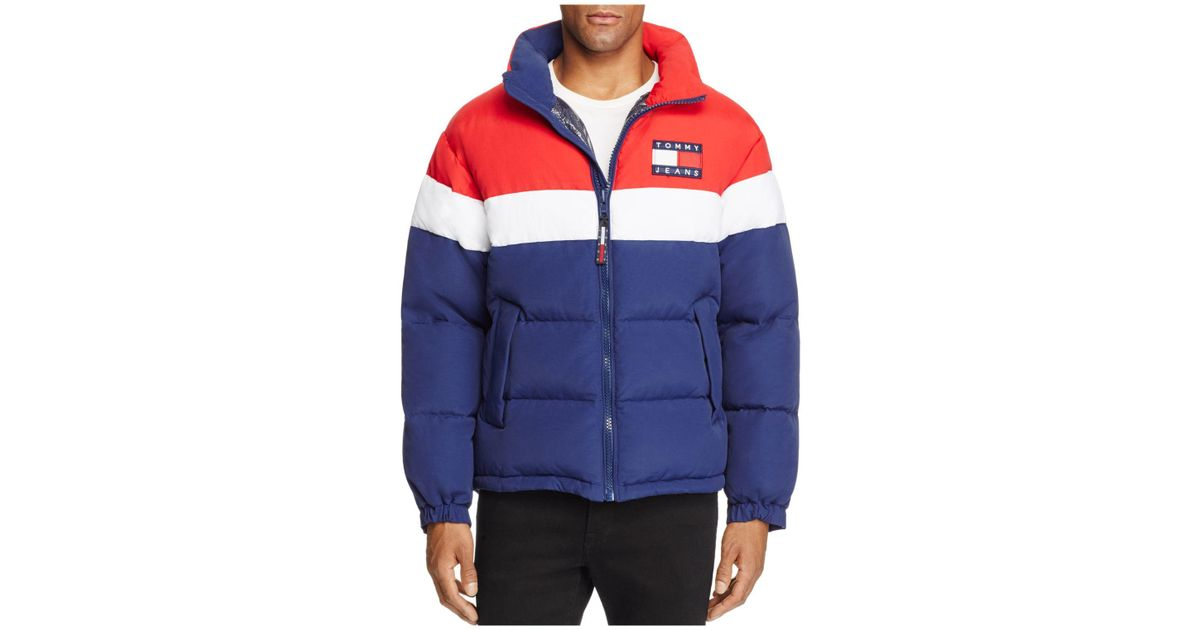 c40f0de3add Lyst - Tommy Hilfiger Tommy Jeans 90 s Retro Color-blocked Puffa Jacket in  Blue for Men
