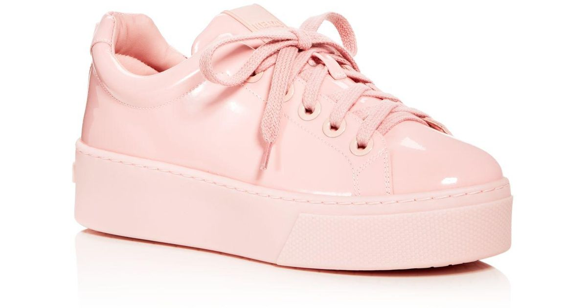 6407a2e181b KENZO Patent Leather Lace Up Platform Sneakers in Pink - Lyst