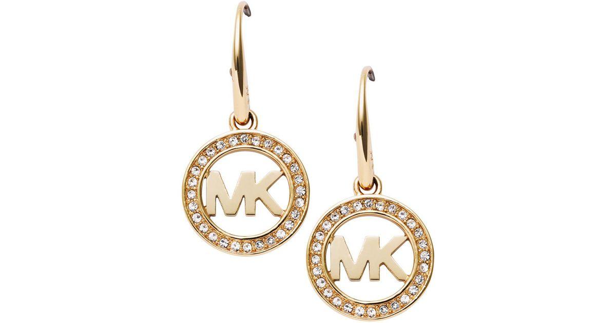 bdf0fe1ab191 Lyst Michael Kors Pave Logo Earrings In Metallic