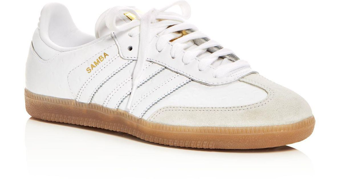 Samba Leather Lace Up Sneakers in White