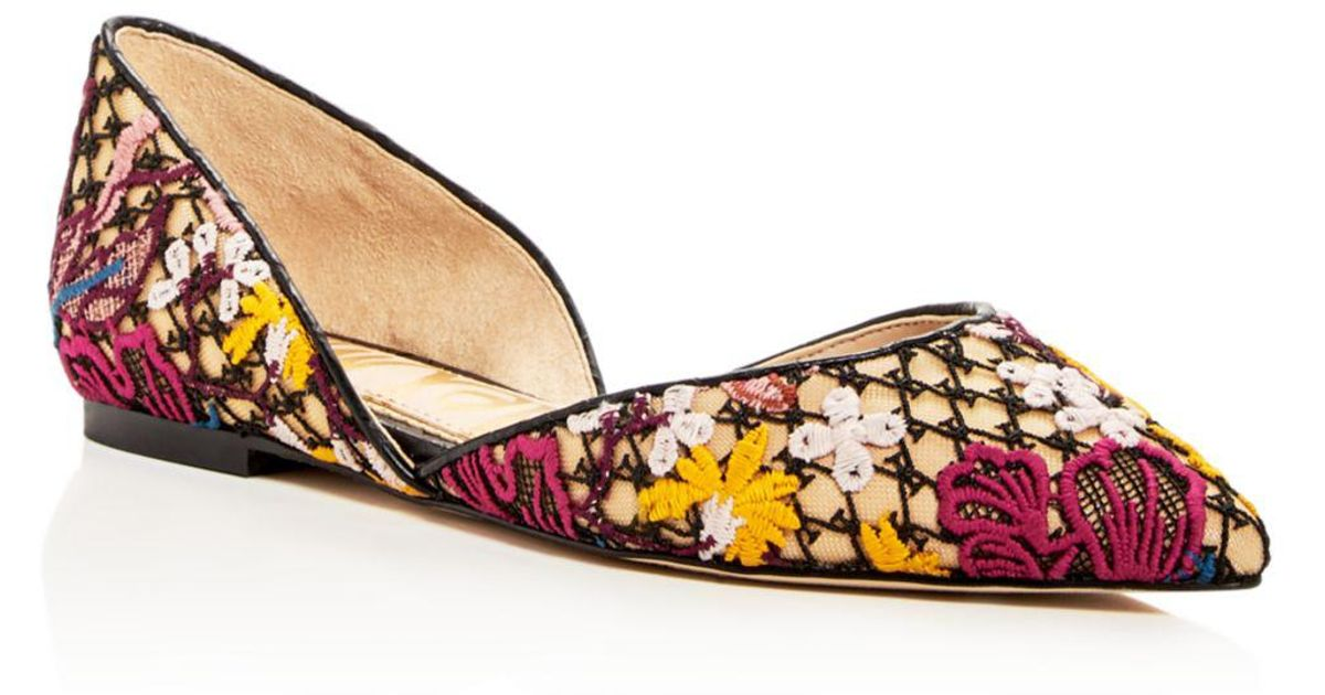 9358ea0cfb62 Lyst - Sam Edelman Women s Rodney Floral-embroidered D orsay Flats