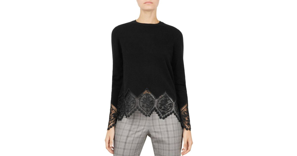 2ab2a607e Lyst - Ted Baker Aylex Lace-trimmed Sweater in Black