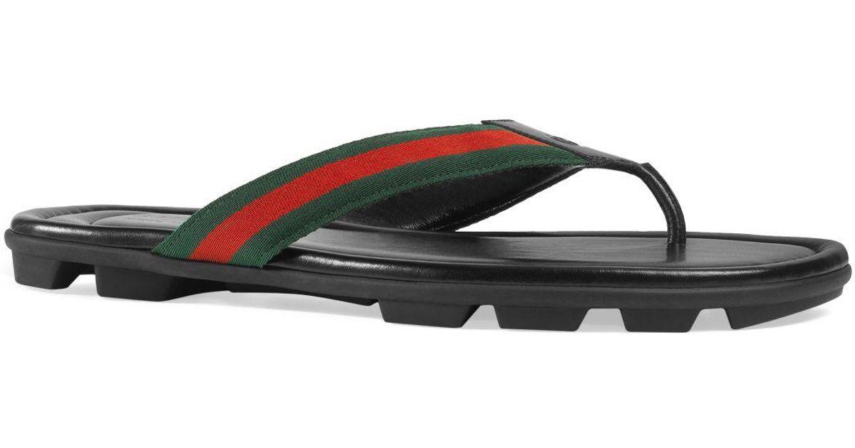 06c0d15306b9 Lyst - Gucci Men s Titan Thong Sandals in Black for Men