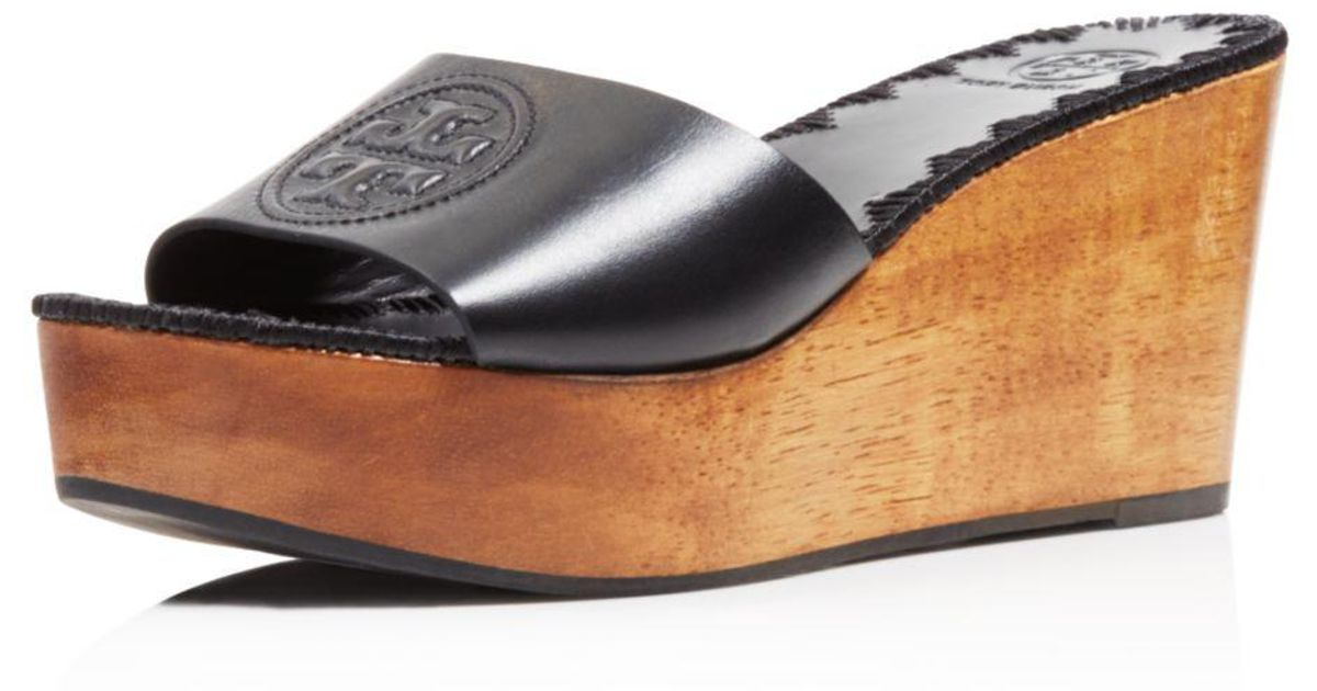 a4078dbdb07d Lyst - Tory Burch Women s Patty Leather Platform Wedge Slide Sandals in  Black