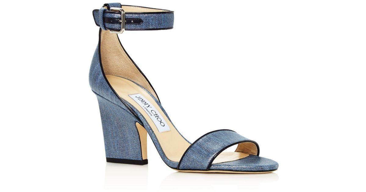 023155e560d Jimmy Choo Women s Edina 85 Metallic Denim High-heel Sandals in Blue - Lyst