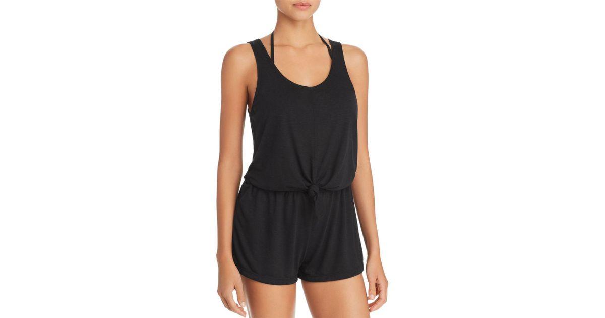 81e135125c Lyst - Becca Breezy Basics Knot Romper Swim Cover-up in Black