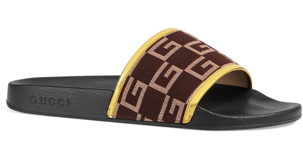 ever popular classic reasonably priced Gucci Multicolor Pursuit Knit Slide Sandals for men
