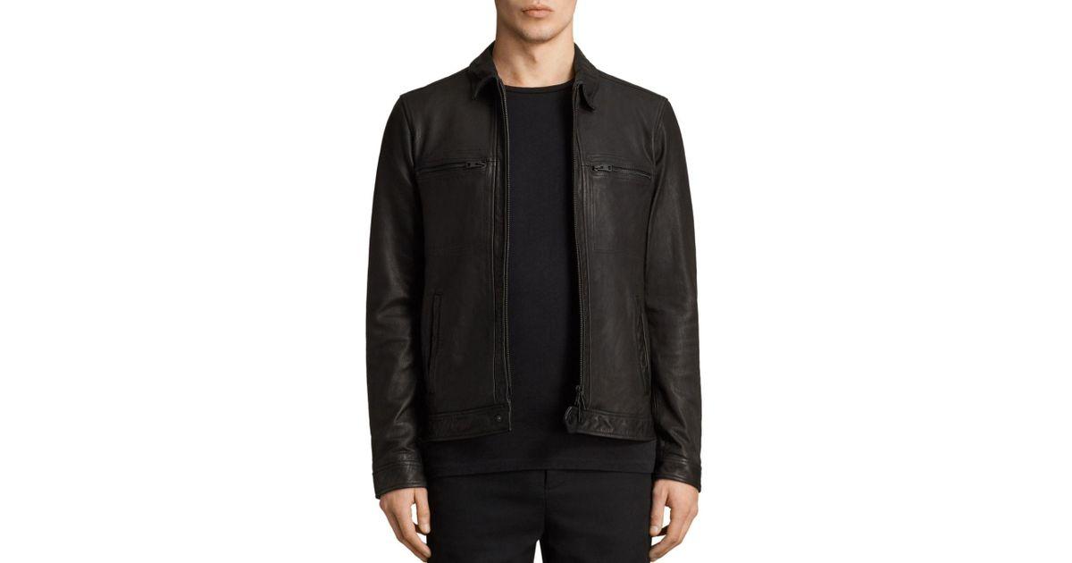 60e4fd3f6 AllSaints Black Lark Leather Jacket for men