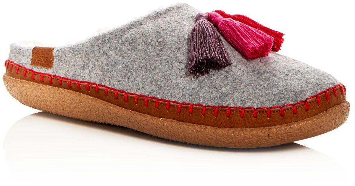 6f52a855c3 TOMS Women's Ivy Drizzle Wool Tassel Slippers in Gray - Lyst