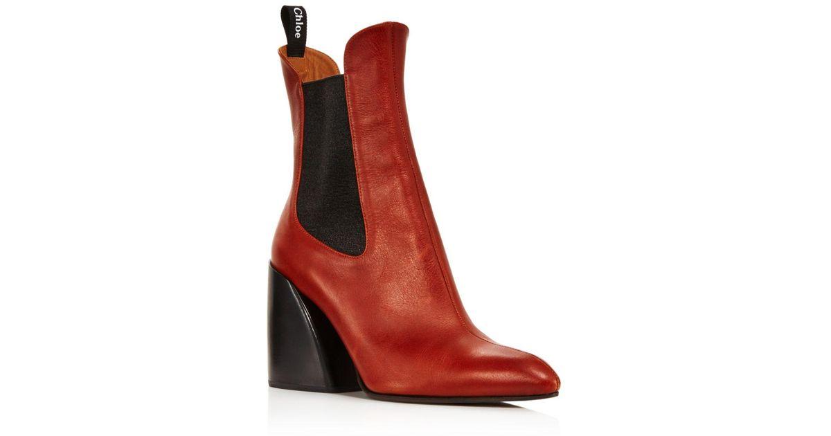 d1622ab4 Chloé - Multicolor Women's Wave Leather Block-heel Ankle Booties - Lyst