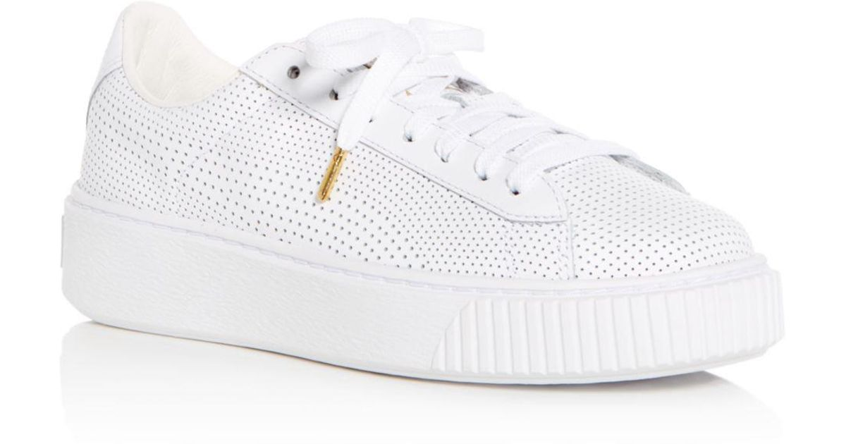 91865d5d4c1b Lyst - PUMA Women s Basket Perforated Leather Lace Up Platform Sneakers in  White