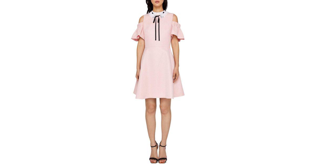 34c61e861 Lyst - Ted Baker Cold Shoulder Skater Dress in Pink - Save 16%