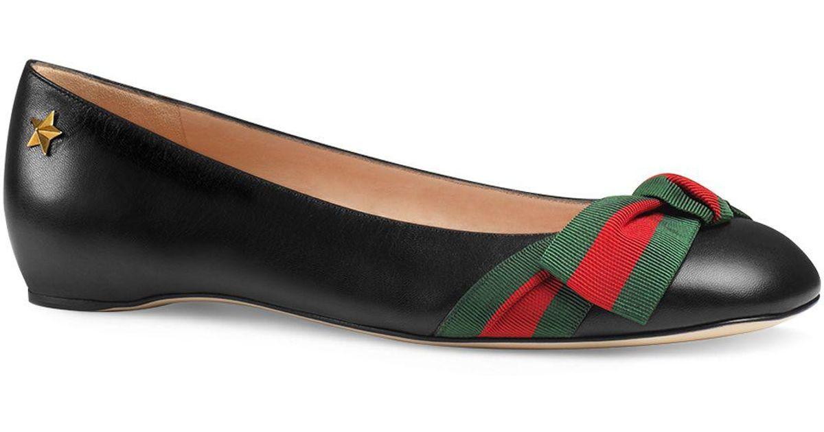75b575da331 Lyst - Gucci Aline Ballet Flats in Black