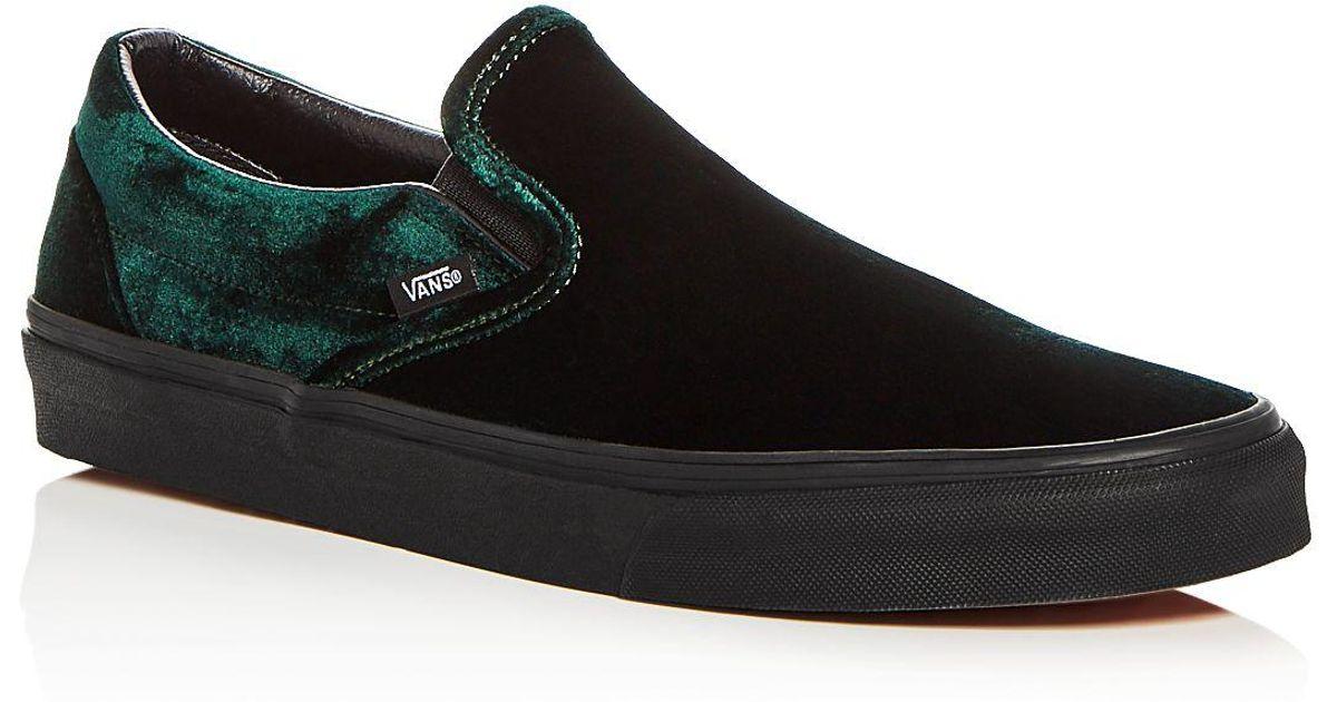 716dfc7eb7460f Lyst - Vans Men s Classic Velvet Slip-on Sneakers in Green for Men