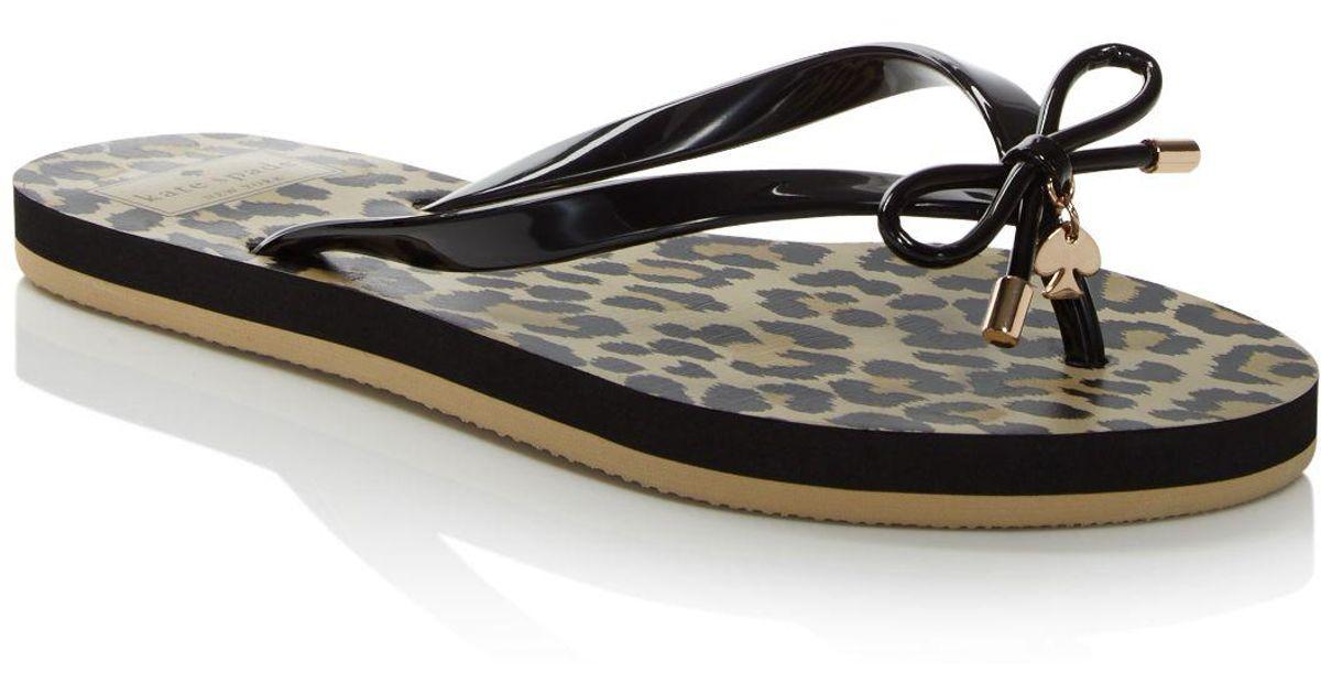 57f3dd1eef5e Kate Spade Nova Leopard Print Flip-flops in Black - Lyst