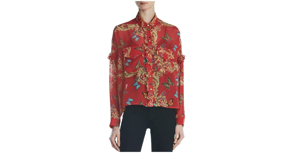 5ce0d9382ff The Kooples Ruffled Leaf & Butterfly-print Silk Shirt in Red - Lyst